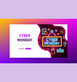 cyber monday neon landing page vector image vector image