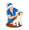 dog new year snow maiden vector image vector image