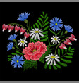 embroidery stitches with chamomile red poppy vector image