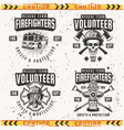 firefighters set four emblems or labels vector image vector image