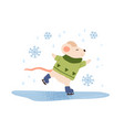 funny mouse ice skating flat vector image vector image