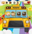 Game template with children riding in bus vector image vector image