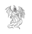 grim reaper or angel death with bird wing vector image