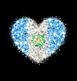 guatemala flag sparkling heart badge vector image