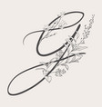 hand drawn flowered g monogram and logo vector image vector image