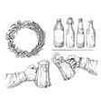 hands holding with beer glasses mug vector image vector image
