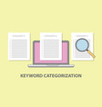 keyword category categorization with laptop and vector image