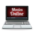 laptop with movies online on a screen vector image