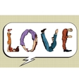 Love the inscription of human figures vector image vector image