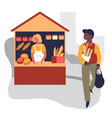 Market bread stall bakery products vendor and