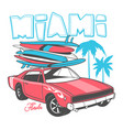 miami typography for t-shirt print and retro car vector image vector image