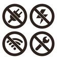 no plug no lightning no wifi and no repair sign vector image vector image