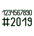 numbers set hashtag 2019 new year microcircuit vector image