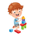 of kid playing with building b vector image vector image
