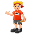 Pirate kid holding a wooden knife vector image vector image