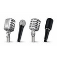 realistic microphones 3d studio and scene audio vector image