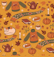 seamless pattern with cozy autumn graphic vector image