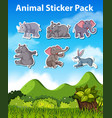 set animal sticker vector image