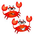 set funny laughing red crab isolated on white vector image