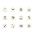 set zodiac signs in circles white vector image vector image