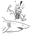 stick man cartoon of scuba diver meet large shark vector image