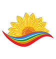 sunflower logo with rainbow vector image vector image