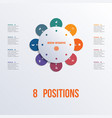 template flower colorful infographics 8 positions vector image vector image