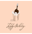 template for birthday card with inscription happy vector image vector image