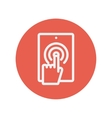 Touch mark in mobile phone thin line icon vector image