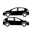 two black car silhouettes on a white background vector image
