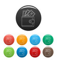 wallet icons set color vector image vector image