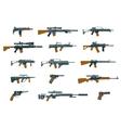 Weapons flat icons Shotgun and machine gun vector image vector image