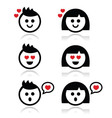 Man and woman in love icons set vector image