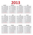 2013 Simple Calendar Monday first day of the week vector image