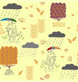 a wolf in autumn with an umbrella in the rain a vector image