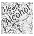 ACTION OF ALCOHOL ON INTERNAL ORGANS Word Cloud vector image vector image