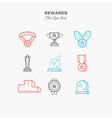 awards medals figurines and more thin line vector image