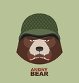 Bear soldierHead of angry bear in military helmet vector image vector image
