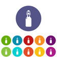 bottle with bung icons set color vector image