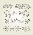 brown gradient calligraphic swirl elements vector image vector image