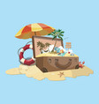 cartoon island with a chest vector image vector image