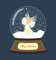 christmas snow globe with angel vector image vector image