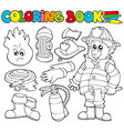 coloring book firefighter collection vector image vector image