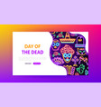day dead neon landing page vector image vector image