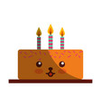 delicious cake brithday with candles kawaii vector image vector image