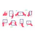 different gestures pink hands on gadget set vector image