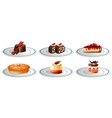 Different kinds of desserts on plates vector image vector image
