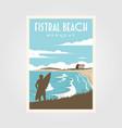 fistral beach surf vintage poster design surf vector image vector image