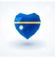 Flag of Nauru in shape diamond glass heart vector image vector image