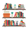 flat bookshelves shelf book in room library vector image vector image